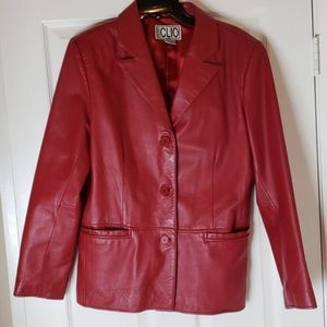 Clio red leather jacket with matching gloves